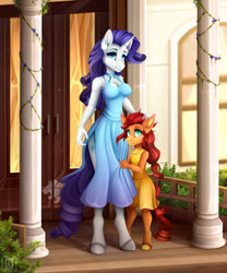 Size: 800x960 | Tagged: safe, artist:buvanybu, rarity, oc, oc:goldheart, unicorn, anthro, unguligrade anthro, breasts, busty rarity, clothes, dress, female, mother and child, mother and daughter