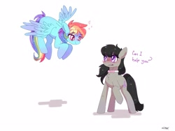 Size: 2874x2160   Tagged: safe, artist:aaa-its-spook, octavia melody, rainbow dash, earth pony, pegasus, pony, blushing, dashtavia, dialogue, female, floating heart, flying, heart, lesbian, necktie, shipping, simple background, smiling, spread wings, white background, wings