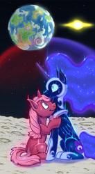 Size: 2480x4510 | Tagged: safe, artist:joe duncan, nightmare moon, oc, oc:rose tint, alicorn, pony, unicorn, comfort, female, high res, horn, hug, magic, magic aura, male, mare, moon, sad, stallion, unicorn oc