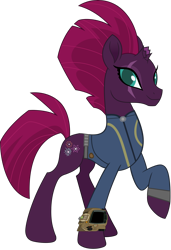 Size: 3418x5000   Tagged: safe, artist:dashiesparkle, artist:ponygamer2020, fizzlepop berrytwist, tempest shadow, pony, unicorn, fallout equestria, my little pony: the movie, absurd resolution, beautiful, broken horn, clothes, cute, cutie mark, eye scar, fallout, female, happy, horn, jumpsuit, looking at you, majestic, mare, movie accurate, pipboy, pretty pretty tempest, raised hoof, scar, simple background, smiling, smiling at you, solo, tempestbetes, transparent background, vault suit, vector