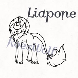 Size: 540x540 | Tagged: safe, artist:roeswolfcreations, oc, oc only, earth pony, pony, base, chest fluff, earth pony oc, leonine tail, lineart, monochrome, simple background, solo, unshorn fetlocks, white background