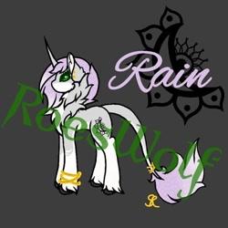 Size: 562x562 | Tagged: safe, artist:roeswolfcreations, oc, oc only, pony, unicorn, base used, bracelet, chest fluff, dark background, horn, jewelry, leonine tail, solo, unicorn oc, unshorn fetlocks