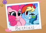 Size: 4096x2952 | Tagged: safe, artist:kittyrosie, pinkie pie, rainbow dash, earth pony, pegasus, pony, cute, dashabetes, diapinkes, digital art, duo, female, grin, mare, one eye closed, photo, smiling, wink