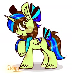 Size: 1939x1993 | Tagged: safe, artist:~w0xel~, oc, oc only, alicorn, pony, bow, clothes, hair bow, looking at you, scarf, smiling, solo, sparkles, tail bow