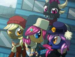 Size: 800x600 | Tagged: safe, artist:rangelost, oc, oc only, oc:apple basket, oc:moonflower, oc:smoke, oc:trailblazer, bat pony, dragon, earth pony, pony, cyoa:d20 pony, armor, bat pony oc, cap, clothes, colt, dragon oc, female, hat, male, mare, morning, outdoors, scarf, sword, ushanka, weapon
