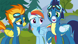 Size: 1920x1080 | Tagged: safe, screencap, rainbow dash, soarin', spitfire, pegasus, pony, newbie dash, clothes, female, goggles, male, mare, stallion, uniform, wonderbolts uniform