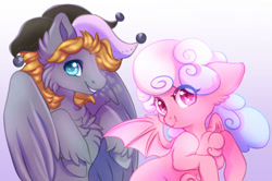 Size: 1024x679 | Tagged: safe, artist:cabbage-arts, oc, oc:haiky haiku, oc:jumping jack, bat pony, pegasus, couple, duo, hat, jester