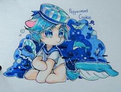 Size: 1024x778 | Tagged: safe, artist:v17nvlsyu9ljsro, dolphin, fish, pony, unicorn, whale, cookie run, hat, male, peppermint cookie, ponified, seashell, simple background, text, traditional art