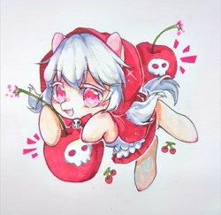 Size: 1024x997 | Tagged: safe, artist:v17nvlsyu9ljsro, earth pony, pony, bomb, cherry, cherry cookie, clothes, cookie run, female, food, ponified, simple background, skull, traditional art, weapon