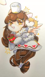 Size: 1255x2159 | Tagged: safe, artist:v17nvlsyu9ljsro, hamster, pegasus, pony, clothes, cocoa cookie, cookie run, cup, dress, female, hat, ponified, simple background, traditional art