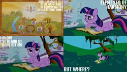 Size: 1280x720 | Tagged: safe, edit, edited screencap, editor:quoterific, screencap, princess celestia, twilight sparkle, alicorn, pony, unicorn, friendship is magic, book, canterlot, female, mare, open mouth, tree, unicorn twilight