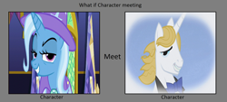 Size: 1280x579 | Tagged: safe, editor:jdueler11, prince blueblood, trixie, bluetrix, female, male, meme, shipping, straight, wrong aspect ratio