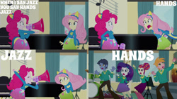 Size: 1280x720 | Tagged: safe, edit, edited screencap, editor:quoterific, screencap, big macintosh, fluttershy, pinkie pie, rarity, toe-tapper, torch song, eqg summertime shorts, equestria girls, steps of pep, boots, clothes, cutie mark, cutie mark on clothes, drum kit, drums, eyes closed, hairpin, megaphone, musical instrument, open mouth, piano, shoes, smiling, sweater, the ponytones, wondercolt ears, wondercolt tail