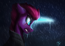 Size: 3000x2160 | Tagged: safe, artist:tenebrisnoctus, tempest shadow, pony, unicorn, angry, bust, eye scar, female, floppy ears, glowing horn, horn, mare, profile, rain, scar, solo