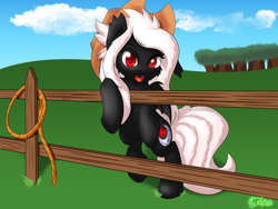 Size: 2048x1536 | Tagged: safe, oc, oc only, oc:midnight ruby, bat pony, bat pony oc, commission, commissioner:nova saber 97, hat, looking at you, open mouth, rope