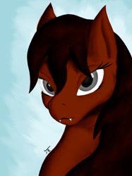 Size: 1280x1707 | Tagged: safe, artist:tunrae, oc, oc only, oc:mfa, hybrid, pony, bedroom eyes, bust, fangs, female, gray eyes, hybrid oc, looking at you, simple background, solo