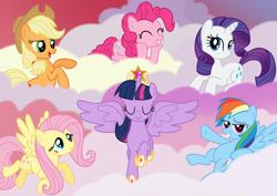 Size: 3508x2480 | Tagged: safe, applejack, fluttershy, pinkie pie, rainbow dash, rarity, twilight sparkle, alicorn, earth pony, pegasus, pony, unicorn, castle sweet castle, big crown thingy, cloud, crown, element of magic, female, jewelry, mane six, mare, regalia, smiling, spread wings, twilight sparkle (alicorn), wings