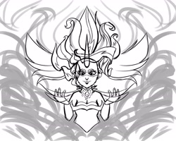 Size: 2048x1638 | Tagged: safe, artist:poxy_boxy, sunset shimmer, equestria girls, friendship games, commission, daydream shimmer, monochrome, sketch, solo, wip
