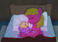 Size: 2250x1626 | Tagged: safe, artist:xbi, cherry berry, dinky hooves, earth pony, pony, unicorn, background pony, bed, bedroom, blanket, cherrybetes, cherrydink, cherrylove, crossover, cuddling, cute, dinkabetes, dinkylove, eyes closed, female, filly, goodnight, goodnight cherry berry, goodnight max, lesbian, mare, max and ruby, night, pillow, redraw, rug, shipping, sleeping, sleeping cherry berry, sleeping dinky hooves, smiling, snuggling