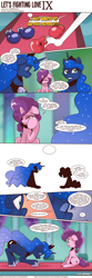 Size: 1300x3903 | Tagged: safe, artist:saturdaymorningproj, princess luna, sugar belle, comic:let's fighting love, comic