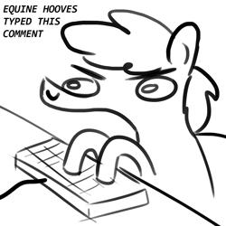 Size: 1024x1024 | Tagged: safe, artist:tjpones edit, edit, oc, oc:tjpones, pony, angry, doodle, keyboard