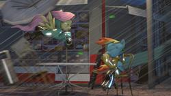 Size: 1280x720   Tagged: safe, artist:minimalistichipster, artist:rottenthemaker, fluttershy, rainbow dash, pegasus, pony, 3d, blown away, chair, city, coffee, duo, duo female, female, hurricane, leaf, rain, raincoat, sitting, source filmmaker, street, table, wind, windswept mane