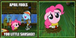 Size: 1000x500 | Tagged: safe, artist:mlpfan3991, edit, edited screencap, screencap, pinkie pie, rainbow dash, caption, crying, female, fools in april, laughing, meme, spongebob squarepants, squidward tentacles, text, vector