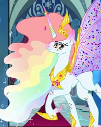 Size: 736x920 | Tagged: safe, artist:_goddesskatie_, oc, oc only, alicorn, bat pony, bat pony alicorn, pony, bat wings, crown, eyelashes, female, hoof shoes, horn, jewelry, mare, multicolored hair, peytral, rainbow hair, raised hoof, regalia, solo, wings