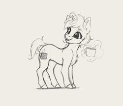 Size: 2760x2388 | Tagged: safe, artist:miokomata, oc, oc only, oc:coffee, pony, unicorn, coffee mug, female, grayscale, levitation, magic, mare, monochrome, mug, simple background, solo, telekinesis