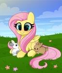 Size: 3503x4096 | Tagged: safe, artist:kittyrosie, fluttershy, pegasus, pony, rabbit, animal, blushing, cute, daaaaaaaaaaaw, lying down, prone, shyabetes, solo, weapons-grade cute