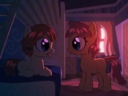 Size: 800x600 | Tagged: safe, artist:rangelost, oc, oc only, oc:honourshine, oc:trailblazer, pony, cyoa:d20 pony, bed, bedroom, duo, evening, female, filly, indoors, looking at each other, lying down, profile, standing, story included