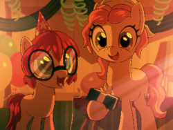 Size: 800x600 | Tagged: safe, artist:rangelost, oc, oc only, oc:honourshine, earth pony, pony, cyoa:d20 pony, duo, female, filly, glasses, hat, hoof hold, indoors, mare, party hat, present, standing, story included