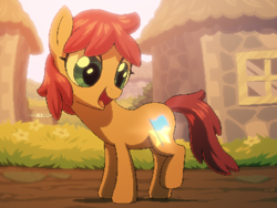 Size: 800x600 | Tagged: safe, artist:rangelost, oc, oc only, oc:honourshine, earth pony, pony, cyoa:d20 pony, cutie mark, female, filly, grass, outdoors, raised leg, solo, standing, story included