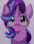 Size: 1120x1424 | Tagged: safe, artist:lexiedraw, starlight glimmer, pony, unicorn, blushing, cute, eye clipping through hair, female, glimmerbetes, mare, raised hoof, solo, starry background