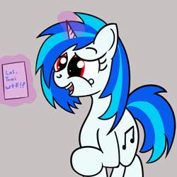 Size: 1200x1200 | Tagged: safe, artist:dafiltafish, dj pon-3, vinyl scratch, unicorn, female, gray background, implied octavia, laughing, mare, mute vinyl, red eyes, simple background, solo, text, wrong eye color