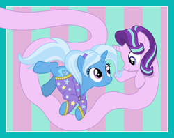 Size: 9381x7418 | Tagged: safe, artist:thatusualguy06, starlight glimmer, trixie, pony, unicorn, abstract background, absurd resolution, alternate hairstyle, babysitter trixie, clothes, duo, female, hoodie, long glimmer, long pony, looking at each other, mare, meme, vector