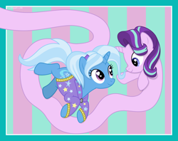 Size: 9381x7418 | Tagged: safe, alternate version, artist:thatusualguy06, starlight glimmer, trixie, pony, unicorn, abstract background, absurd resolution, alternate hairstyle, babysitter trixie, clothes, duo, female, heart eyes, hoodie, long glimmer, long pony, looking at each other, mare, meme, starry eyes, vector, wingding eyes