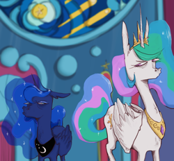 Size: 1340x1242 | Tagged: safe, artist:4rkrot, artist:fake_anna, artist:fakeanna, princess celestia, princess luna, alicorn, pony, sparkle's seven, annoyed, canterlot castle, canterlot throne room, celestia is not amused, crown, duo, ethereal mane, faic, female, floppy ears, frown, grumpy, jewelry, looking at each other, luna is not amused, mare, multicolored mane, narrowed eyes, regalia, royal sisters, scene interpretation, siblings, sideways glance, sisters, stained glass, starry mane, throne, unamused