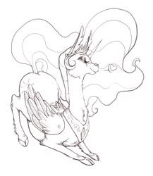 Size: 1064x1224 | Tagged: safe, artist:4rkrot, artist:fake_anna, artist:fakeanna, princess celestia, alicorn, pony, cheek fluff, cloven hooves, female, floating heart, fluffy, grayscale, heart, mare, monochrome, pictogram, sketch, solo, solo female