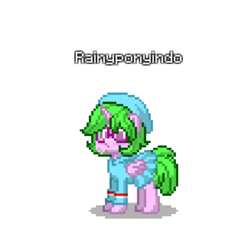 Size: 768x768 | Tagged: safe, artist:altersmay87, oc, oc:rainy rainbow, alicorn, pony, pony town, chubby, clothes, cute, eyeglasses, hat, hoodie, indonesia, indonesian flag, simple background, skirt, transparent background
