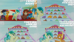 Size: 1280x720 | Tagged: safe, edit, edited screencap, editor:quoterific, screencap, gallus, ocellus, sandbar, silverstream, smolder, yona, changeling, dragon, earth pony, griffon, pegasus, pony, yak, uprooted, female, male, mare, open mouth, pointing, stallion, student six