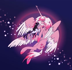 Size: 2048x2000 | Tagged: safe, artist:rainaru, alicorn, pony, unicorn, crossover, female, four wings, goddess, homura akemi, lesbian, madoka kaname, magical girl, multiple wings, ponified, puella magi madoka magica, shipping, traditional art, wings