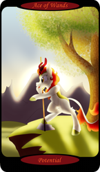 Size: 1500x2591 | Tagged: safe, artist:sixes&sevens, part of a set, autumn blaze, kirin, ace of wands, bipedal, bipedal leaning, cliff, dawn, female, leaning, minor arcana, mountain, mountain range, outdoors, pointing, solo, tarot card, tree, walking stick