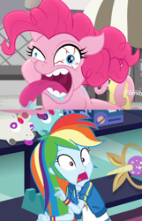 Size: 720x1118 | Tagged: safe, pinkie pie, rainbow dash, equestria girls, equestria girls series, holidays unwrapped, rainbow roadtrip, spoiler:eqg series (season 2), bloodshot eyes, movie accurate, pinkie pie is best facemaker, prank, scaredy dash, screaming, tongue out
