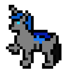 Size: 405x405 | Tagged: safe, artist:un simple tio, oc, oc:loshad, changeling, hybrid, 8-bit, blue changeling, horn, pixel art, side view, solo