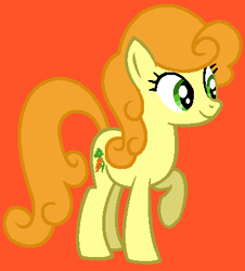 Size: 369x409 | Tagged: safe, artist:princessdaisyofficialchannel, carrot top, golden harvest, earth pony, pony, background pony, female, mare, orange background, raised hoof, raised leg, simple background, smiling