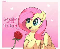 Size: 2368x1940 | Tagged: safe, artist:nookprint, edit, fluttershy, cropped, cute, flower, offscreen character, rose, shyabetes, solo