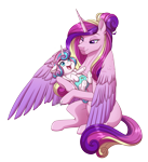 Size: 3089x3378 | Tagged: safe, artist:jack-pie, princess cadance, princess flurry heart, alicorn, pony, baby, baby pony, cloth diaper, colored wings, cute, cutedance, diaper, female, filly, flurrybetes, foal, hair bun, happy, mare, mother and child, mother and daughter, multicolored wings, open mouth, pink diaper, safety pin, simple background, smiling, transparent background, weapons-grade cute, wings