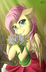 Size: 1108x1724 | Tagged: safe, artist:yuris, fluttershy, pegasus, pony, clothes, delicious flat chest, flattershy, flower, pink mane, pony only, skirt, smiling, solo