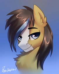 Size: 2000x2488 | Tagged: safe, artist:jedayskayvoker, oc, oc only, oc:gear (gearslavehorse), pony, blaze (coat marking), bust, chest fluff, coat markings, colored pupils, ear fluff, facial markings, gradient background, high res, lidded eyes, looking at you, male, portrait, signature, smiling, smiling at you, smirk, smug, solo, stallion